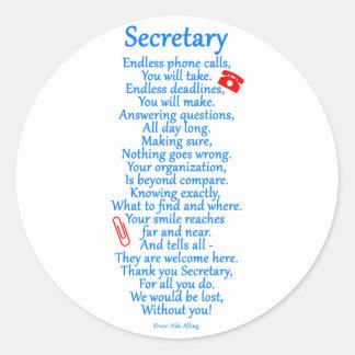Secretário Agradecimento Você Adesivos Redondos