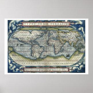 Século XVI antigo de Ortelius do mapa do mundo Pôsteres