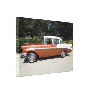 Sedan 1956 da porta do Bel Air 4 de Chevrolet Impressão De Canvas Esticada