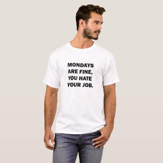 Segundas-feiras são camisa fina de T