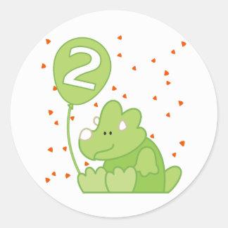 Segundo aniversário do bebê de Dino Adesivo Redondo