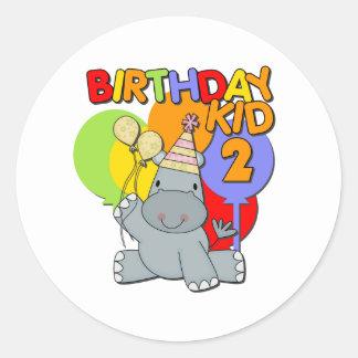 Segundo aniversário do hipopótamo adesivo redondo