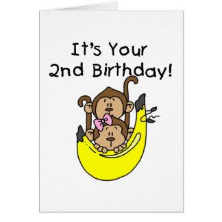 Segundo aniversário do menino e da menina do cartão comemorativo