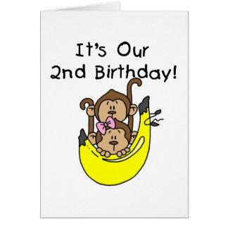 Segundo aniversário do menino e da menina do macac cartão comemorativo
