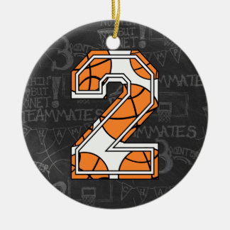 Segundo aniversário do quadro do basquetebol ornamento de cerâmica redondo