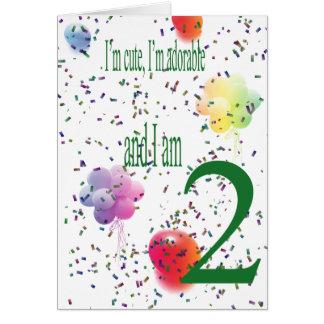 Segundo aniversário feliz cartão comemorativo