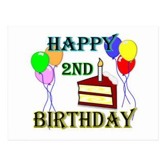 Segundo aniversário feliz com bolo, balões e vela cartões postais