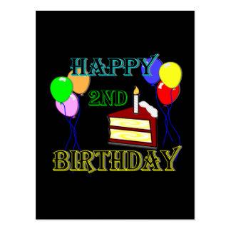 Segundo aniversário feliz com bolo, balões e vela cartao postal