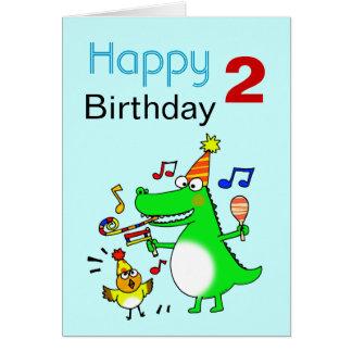 Segundo aniversário feliz (eu sou 2) cartão comemorativo