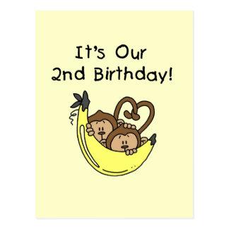 Segundo aniversário gêmeo do macaco da banana dos cartão postal