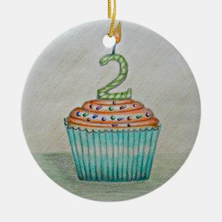 Segundo aniversário ornamento de cerâmica redondo