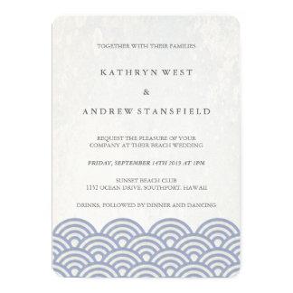 Seigaiha azul roxo macio acena o casamento convite 12.7 x 17.78cm