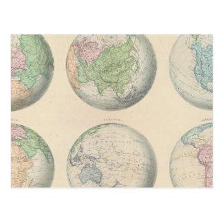 Seis mapas hemispheric do mundo cartão postal