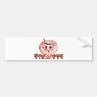 Seis porcos pequenos adesivos