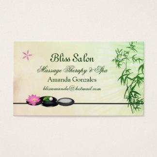 Seixos pretos, lótus, cartão de visita de bambu