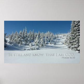 Seja ainda e saiba que eu sou DEUS. 46:10 do salmo Pôster