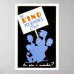 Seja amável ao clube de livros WPA 1940 Poster