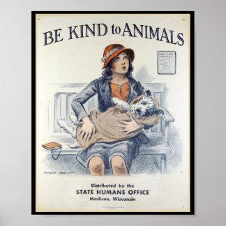 Seja amável aos animais - poster vintage