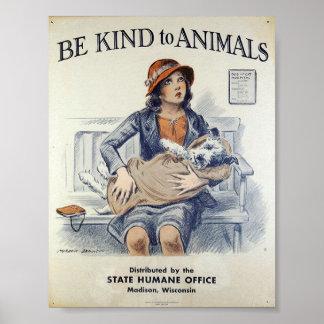 Seja amável aos animais - poster vintage pôster