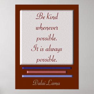 Seja - citações de Dalai Lama - impressão amável