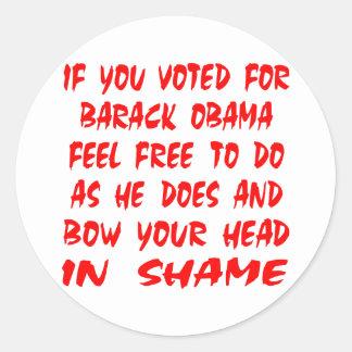 Seja como o arco de Obama sua cabeça na vergonha Adesivo