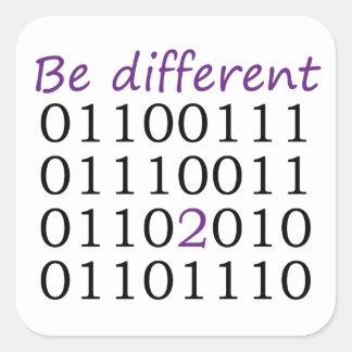 Seja diferente adesivo quadrado