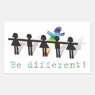 Seja diferente! adesivo retangular