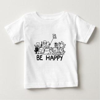 Seja Doodle feliz dos gatos Camiseta Para Bebê