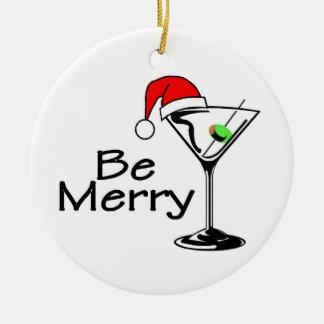 Seja Feliz Natal Martini Ornamento De Cerâmica Redondo