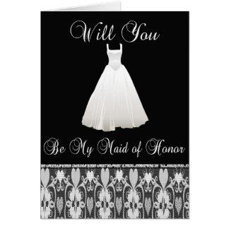 Seja meu convite da madrinha de casamento no laço cartão comemorativo