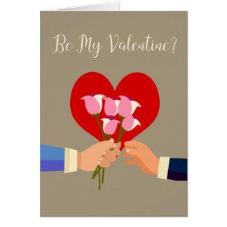 Seja meus rosas e coração temáticos alegres dos cartão comemorativo