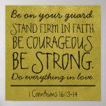 Seja poster corajoso e forte do verso da bíblia