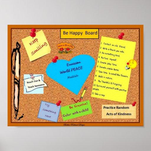 Seja quadro de mensagens feliz posteres