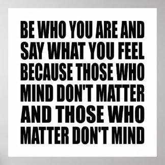 """Seja quem você é o poster 24"""" das citações da vida"""