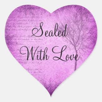 Selado com etiqueta do roxo do amor
