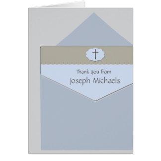Selado com um cartão com fotos religioso da bênção