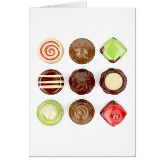 Seleção de doces de chocolate cartão comemorativo