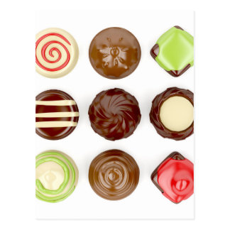 Seleção de doces de chocolate cartão postal