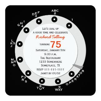 Seletor giratório do 75th convite de aniversário