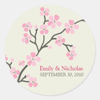 Selo 2 do convite do casamento da flor de adesivos em formato redondos