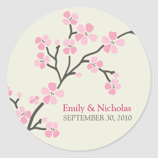 Selo 2 do convite do casamento da flor de cerejeir adesivos