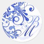 Selo abstrato do envelope floral do azul e do adesivo