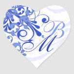 Selo abstrato do envelope floral do azul e do bran adesivos em forma de corações