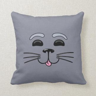 Selo cinzento - travesseiro bonito dos desenhos an
