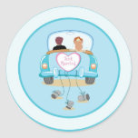 Selo clássico do envelope do casamento do carro do adesivo em formato redondo
