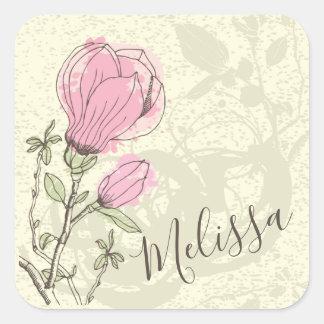 Selo cor-de-rosa personalizado da etiqueta da flor