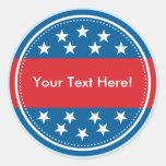 Selo customizável da bandeira dos EUA - azul Adesivos Redondos