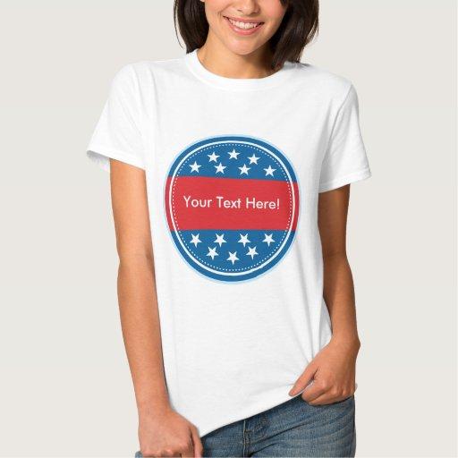Selo customizável da bandeira dos EUA - azul Camisetas
