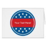 Selo customizável da bandeira dos EUA - azul Cartao