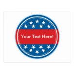 Selo customizável da bandeira dos EUA - azul Cartão Postal